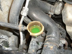oil in coolant reservoir