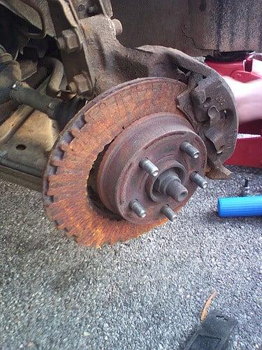 destroyed brake rotor
