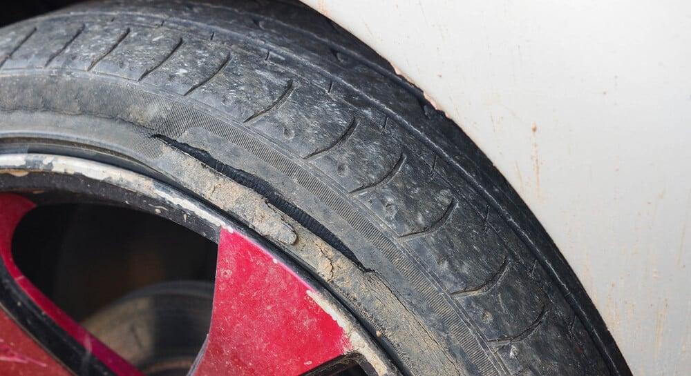 Deep Sidewall Tire Damage