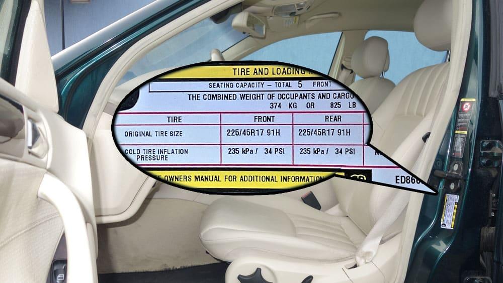 Car Tire Pressure Label